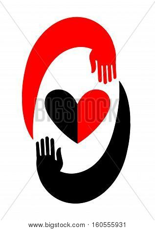 Hands embracing a heart. The original icon with black and red design. Symbol of love in the style of flat. Will be useful for decoration as a logo as an element of web design and different kinds of printing products
