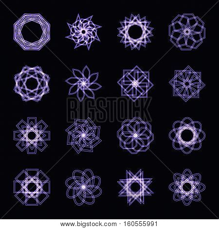 Abstract purple neon shape, futuristic wavy fractal of star and circle collection. Vector square and other different decorative elements. Cool geometric illustration