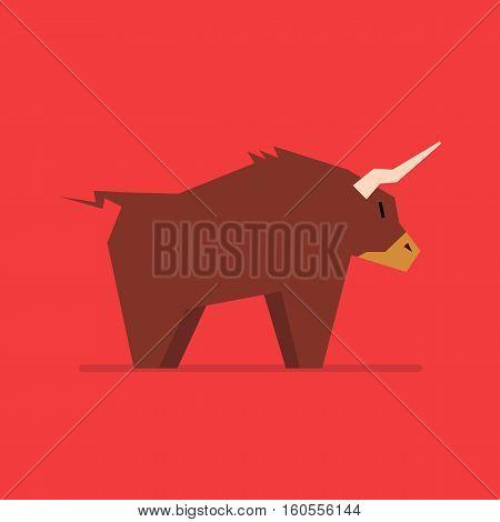 Bull in flat style. vector icon illustration