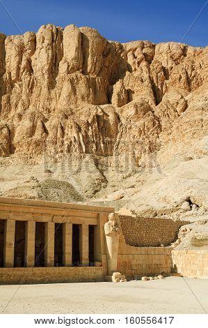 Hatchepsut Temple in Luxor near Nile river. Egypt