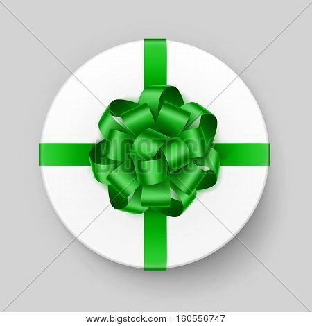 Vector White Round Gift Box with Shiny Green Bow and Ribbon Top View Close up Isolated on Background