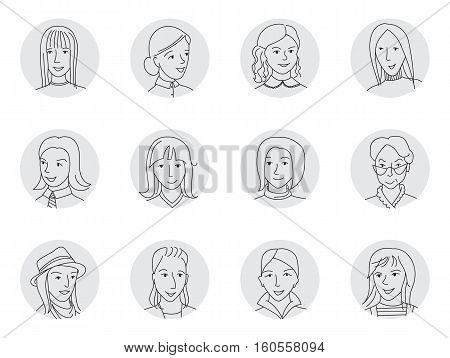 People avatar collection, set of happy women face icons in business and casual clothes, mixed age, Hand drawn thin line sketch style cartoon vector illustration.