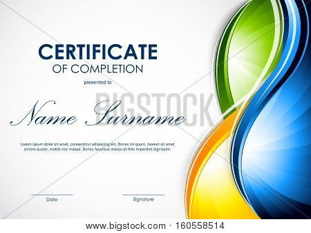Certificate of completion template with colorful shiny wavy votrex background. Vector illustration