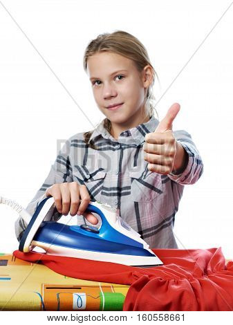 Girl Showing Thumbs Up Around Ironing Board And Iron Isolated