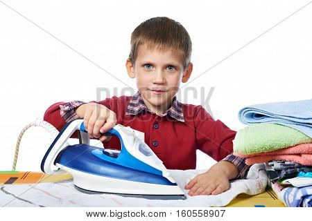 Boy With Washed Linen And Iron Isolated