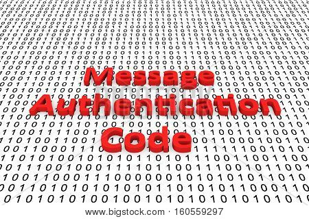 Message authentication code as a binary code 3D illustration