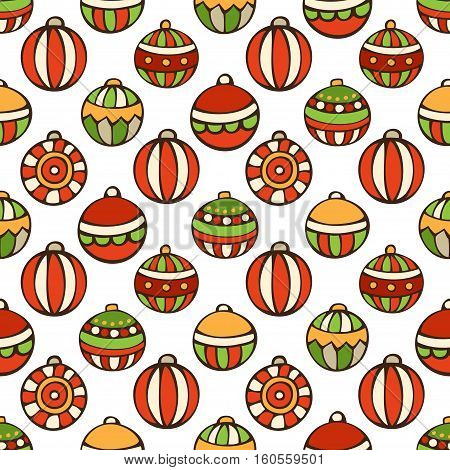 Vector Merry Christmas seamless pattern. Bright set of Christmas tree baubles on white background. Doodles hand-drawn boundless background.