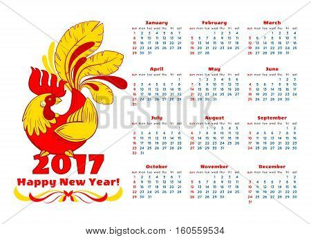 2017 vector calendar with red rooster. Hand drawn red rooster illustration symbol of 2017 on Chinese horoscope. Calendar template with week starts sunday
