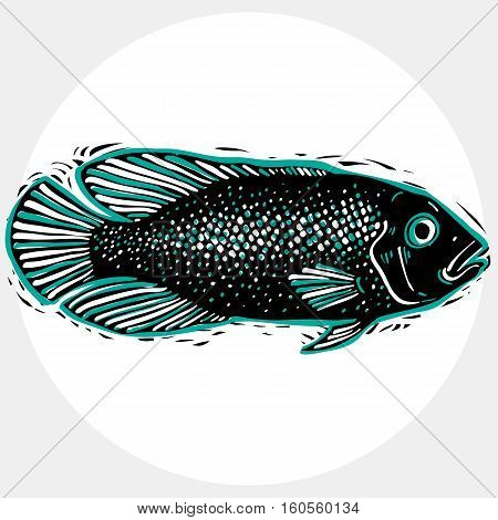 Hand Drawn Vector Simple Fish Isolated, Seafood Graphic Element. Underwater Life, Illustration Of Si