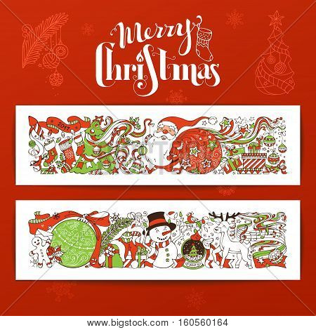 Vector set of Merry Christmas banners. Christmas decorations Christmas tree and Christmas balls Santa with sack gifts snowman gingerbread man deer Santa socks hand-written lettering.