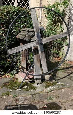 An old wooden water well that is still being used