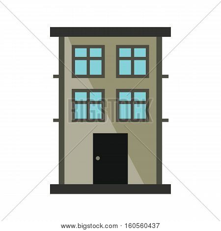 Private residential cottage house flat icon. Modern house and architecture residential house isolated on white background illustration