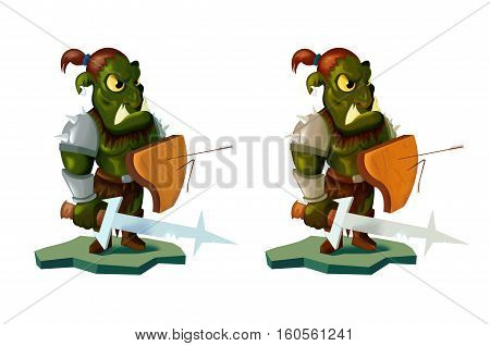 Cartoon style illustration of an orc warrior wielding sword and shield. front on white background. for your application , project