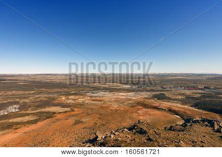 Deserted landscape on Iceland with blue sky