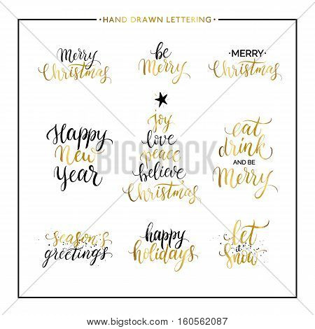 Christmas and New Year phrases and quotes - Merry Christmas, happy holidays, seasons greetings, let it snow, handwritten vector gold xmas lettering for greeting card, poster, invitation, banner, print