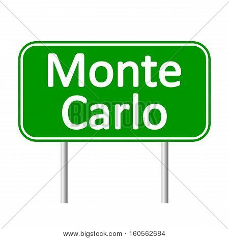 Monte-Carlo road sign isolated on white background.