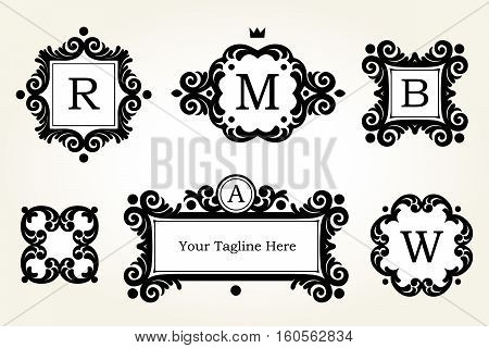 Vector Set Golden Frames And Vignettes.