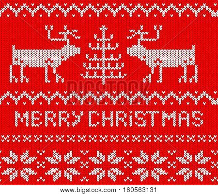 Red Christmas Jumper seamless knitted Pattern with deers. Vector illustration.