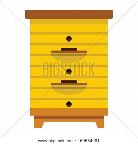 Apiary honey hive in flat style. Apiary icon for web. Vector illustration