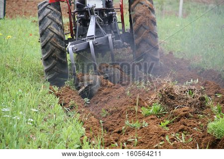 tractor plowing land on a summer day