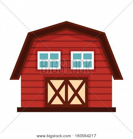 Farm house in cartoon style isolated on white background. Farm agro building elements for you design