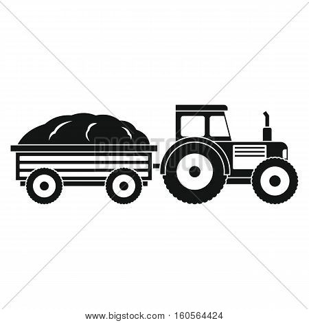 Tractor in black style isolated on white background. elements for agro farm design