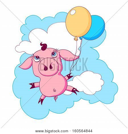 Little cute piggy with two balloons flying in the sky with clouds