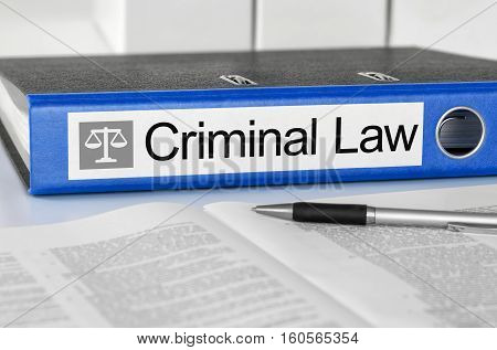 Blue Folder With The Label Criminal Law