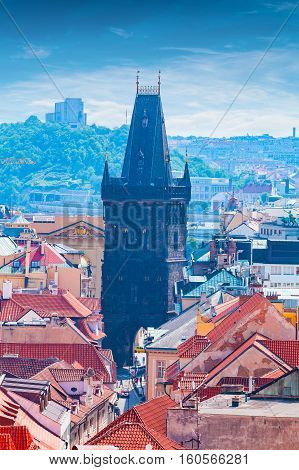 Panorama of the city from the Clock Tower in Prague. View of the Powder Tower. Aerial view