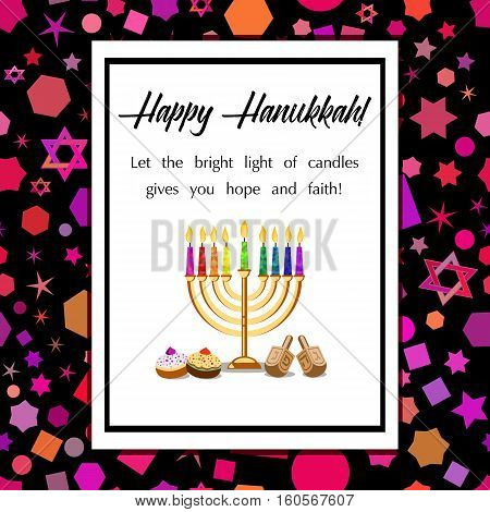 Postcard for Festival of Lights Feast of Dedication Hanukkah. White blank with menorah dreidels sufganiots and greetings on colorful background with Hanukkah elements. Vector illustration