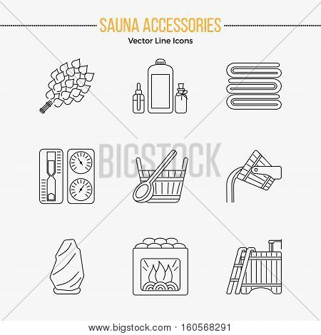 Modern Editable Stroke Vector Line Icons with different sauna elements - sauna whisk, heater, bucket waterfall, lakeside jetty and others. Spa relaxation emblem. Sauna accessories symbols.