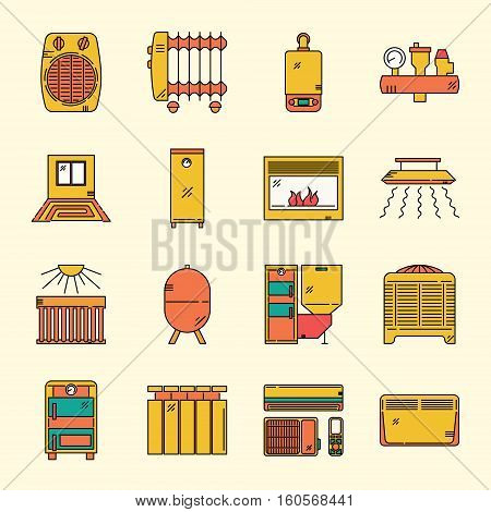 Modern Line Icons Set of House Heating. Premium quality flat emblem pack. Outline vector logo templates. Perfect for your business.