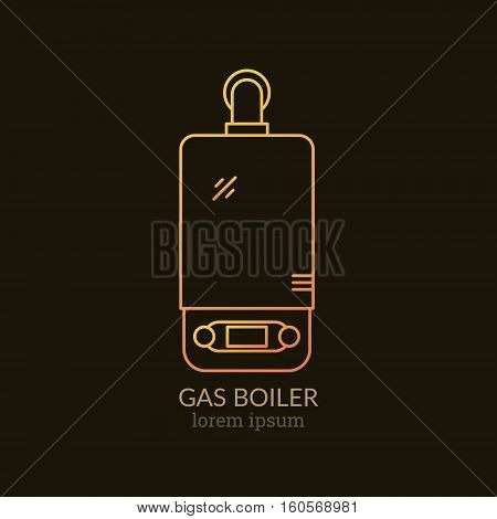 House Heating Single Logo. Illustration of Gas Boiler made in trendy line style vector. Clean and Simple modern emblem for shop product or company. Perfect for your business.