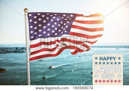 Poster of celebrate labor day text against harbour