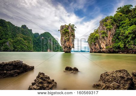 Long exposure image of James Bond Island in Phuket, Thailand