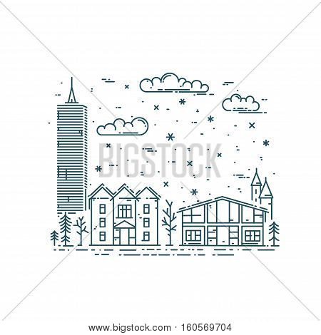 Winter Cityscape in trendy linear style.Vector card with city buildings, clouds and snow.