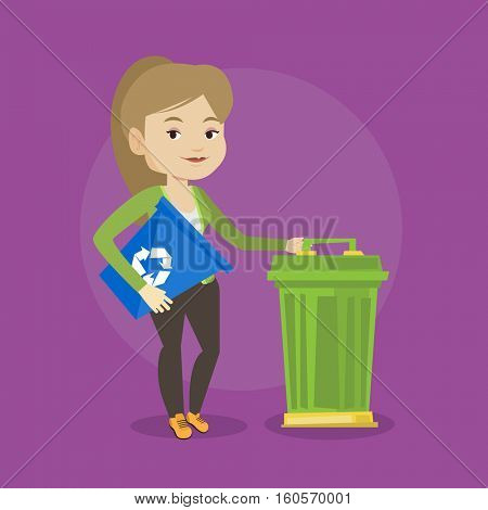 Young caucasian woman carrying recycling bin. Smiling woman holding recycling bin while standing near a trash can. Waste recycling concept. Vector flat design illustration. Square layout.