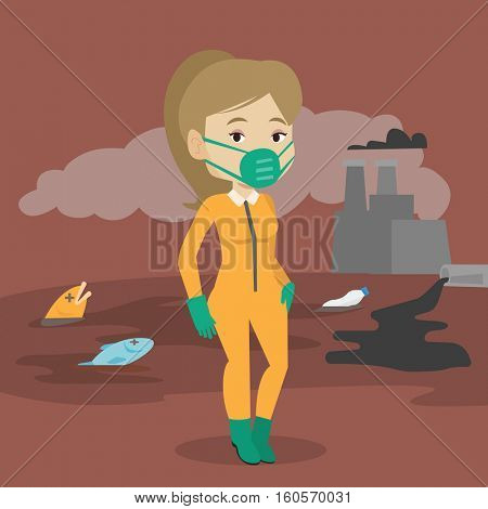 Caucasian woman in gas mask and radiation protective suit standing on the background of nuclear power plant. Scientist wearing radiation protection suit. Vector flat design illustration. Square layout