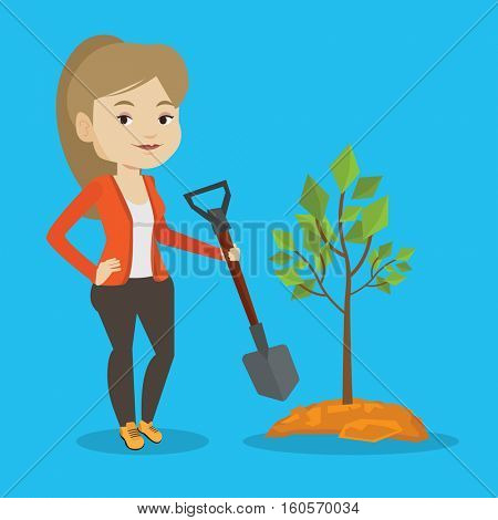 Caucasian woman plants a tree. Cheerful woman standing with shovel near newly planted tree. Young woman gardening. Environmental protection concept. Vector flat design illustration. Square layout.