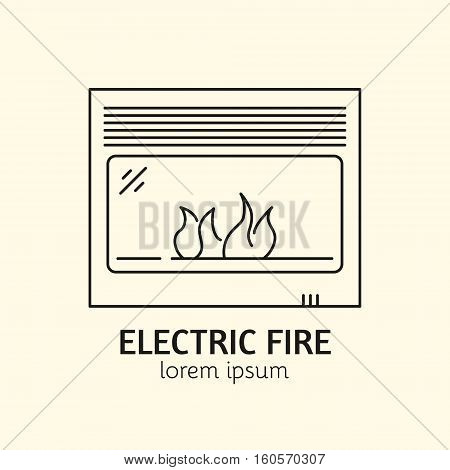 House Heating Single Logo. Illustration of Electic Fire made in trendy line style vector. Clean and Simple modern emblem for shop product or company. Perfect for your business.