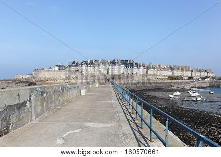View of the city of Saint Malo in Brittany, France