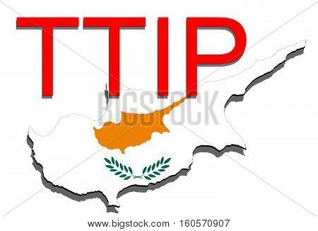Ttip - Transatlantic Trade And Investment Partnership On Cyprus Map