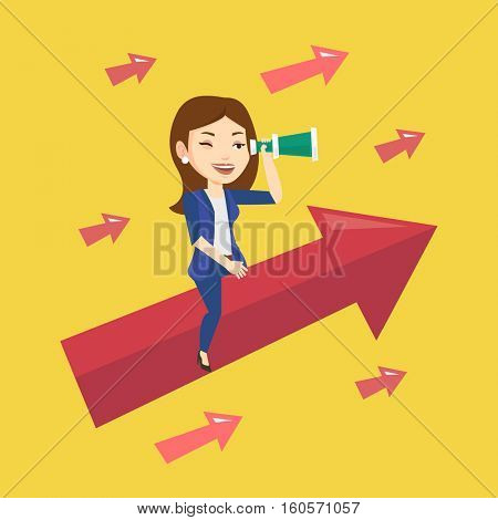 Young businesswoman searching for opportunities. Caucasian business woman using spyglass for searching of opportunities. Business opportunities concept. Vector flat design illustration. Square layout.