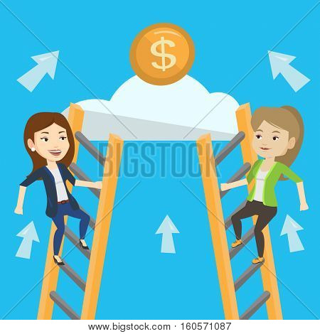 Two caucasian business women competing for the money. Two competitive businesswomen climbing the ladder on a cloud. Concept of competition in business. Vector flat design illustration. Square layout.