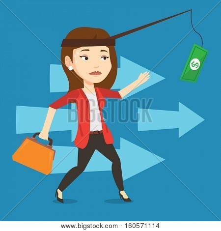 Money on fishing rod as motivation for businesswoman. Caucasian business woman motivated by money hanging on fishing rod. Concept of business motivation. Vector flat design illustration. Square layout
