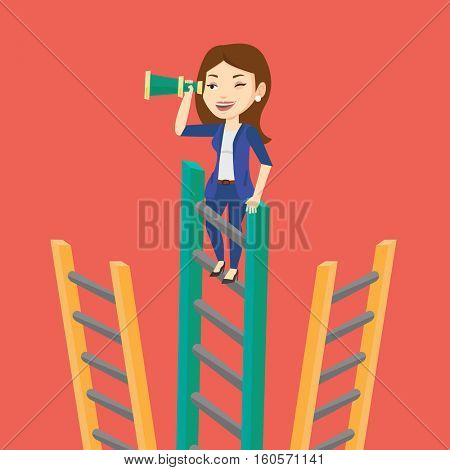 Young business woman searching for opportunities. Caucasian business woman using spyglass for searching of opportunities. Business opportunities concept. Vector flat design illustration. Square layout