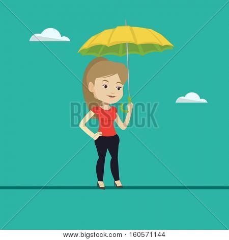 Business woman walking across a tightrope with umbrella in hand. Business woman balancing on a tightrope. Concept of risks and challenges in business. Vector flat design illustration. Square layout.