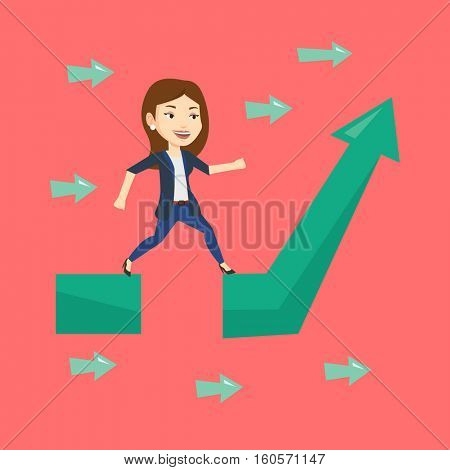 Young businesswoman facing with business obstacle. Caucasian businesswoman coping with business obstacle successfully. Business obstacle concept. Vector flat design illustration. Square layout.