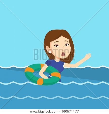 Frightened business woman sinking and asking for help. Afraid caucasian business woman with lifebuoy sinking and waving. Concept of failure in business. Vector flat design illustration. Square layout.