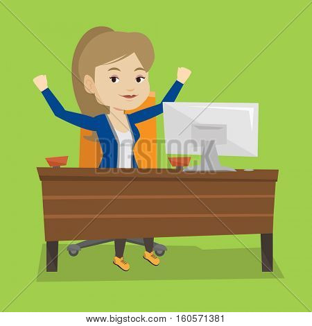 Caucasian successful businesswoman celebrating at workplace. Successful business woman celebrating business success. Successful business concept. Vector flat design illustration. Square layout.